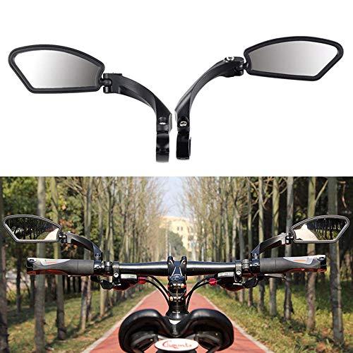 Volwco Lenker Fahrradspiegel, 360 ° Verstellbarer Winkel Fahrradrückspiegel Edelstahl HD Explosionsgeschützte Glaslinse Sicherer Klappbarer Fahrrad Spiegel mit Reflektierenden Streifen