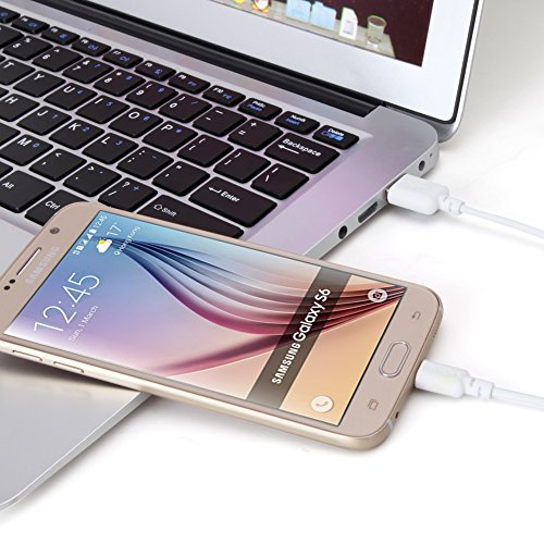 Micro-USB Cable, EZOPower 6 Feet White Micro-USB Sync & Charging Data Cable For Samsung Galaxy TAB 3 Tab E Tab A Tablet, S7, S7 Edge Smartphone