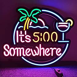 Diyida It's 5:00 Some Where LED Neon Light Signs for Beer Bar Club Bedroom Office Hotel Pub Cafe Wedding Birthday Party Man Cave Art Wall