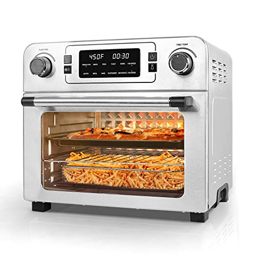 USBLUEWAVE 1700W 10-in-1 Large Digital Air Fryer Oven Convection Rotisserie Oven Toast/Bake/Broil/Roast/Dehydrate 24Qt (SILVER)