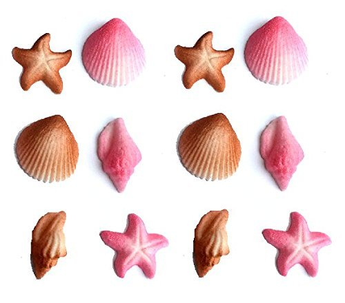 12pk Seashell Sand Water Beach Sea Creatures Star Fish (Pink) Ready To Use Cake Cupcake Sugar Decoration Toppers (Pink)
