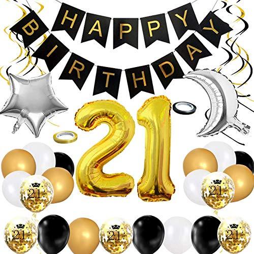 Puosike Globos decorativos para 21 cumpleaños, color dorado y negro, para fiesta de cumpleaños, pancarta de Happy Birthday en espiral, confeti, globo de luna estrellada, para niñas y niños