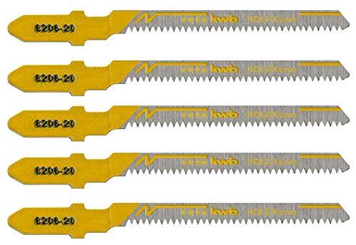 kwb 5 x Stichsägeblätter Profi-Pack für Holz 620625 (Kurve, HCS Kohlenstoffstahl, Einnockenschaft, T101AQ) u.a. für Einhell RT-JS 85
