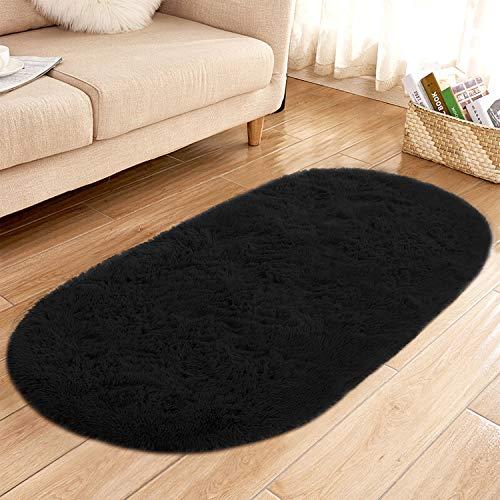 YJ.GWL High Pile Soft Shaggy Area Rugs for Nursery Bedroom Floor Baby Fluffy Carpets Anti-Slip Home Decor Rugs 2.6' X 5.3' Oval Black