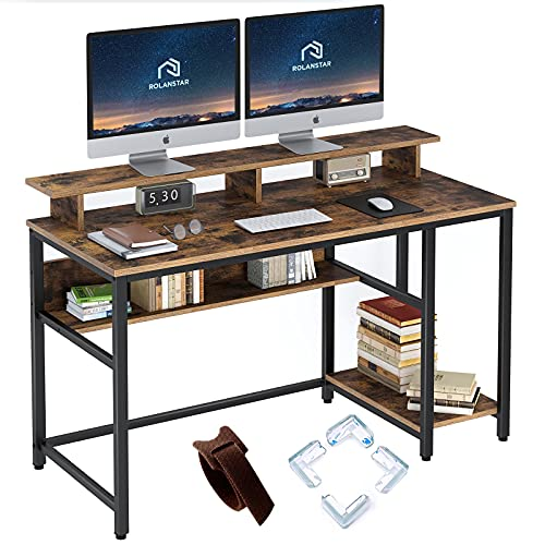 home office desk with storages Rolanstar Computer Desk with Monitor Shelf, 47