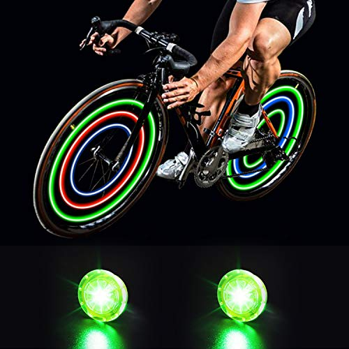MapleSeeker Bike Wheel Lights Bike Spoke Lights with Batteries Included, Waterproof Bicycle Wheel Lights for Safe Cycling, Easy to Install Cool Bike Lights for Wheels (2-Pack Green)