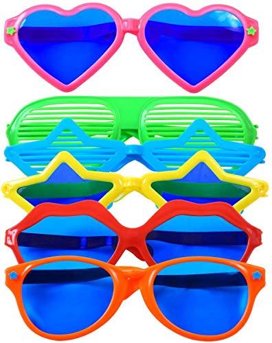 KAHEIGN 6Pcs Partybrille Plastik Groß Fun Sonnenbrille Bunte Party Brille für Strand Kostümzubehör Foto Requisiten Kostüm Partyzubehör