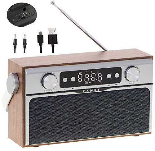 Retro Radio | USB Eingang | Bluetooth 5.0 | 2600mAh Akku | FM Radio | AUX-In | Teleskopantenne | Küchenradio | Nostalgieradio | Musikanlage | Kompaktanlage | Strom und Akkubetrieb