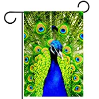 庭の装飾の屋外の印の庭の旗の飾り動物の世界クリアエレガントな孔雀グリーン テラスの鉢植えのデッキのため