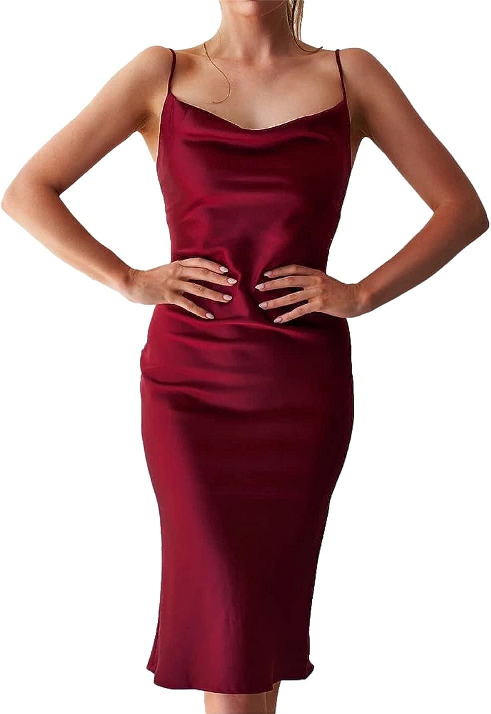 Bnigung Women's Sexy Satin Dress Sleeveless Spaghetti Strap Cocktail Evening Party Bodycon Midi Dresses