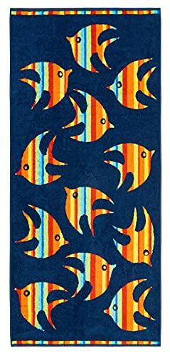 Lashuma Toalla de playa, diseño de peces, color azul con peces multicolor, 70 x 160 cm