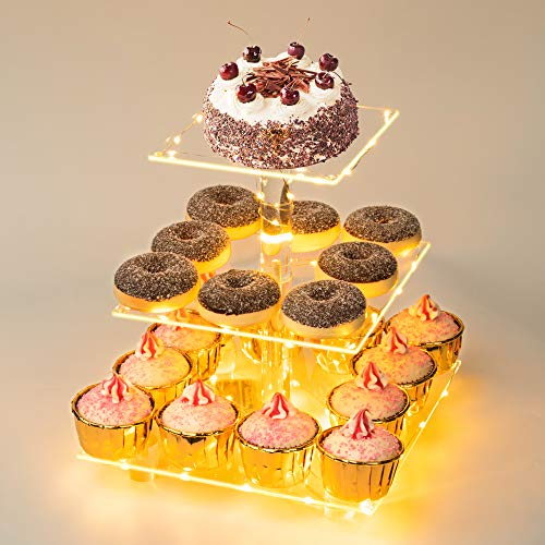 Weddingwish Cupcake Stand 3Tier Acrylic Cupcake Display Stand with LED String Lights Dessert Tower Pastry Stand for Birthday or Wedding PartyYellow