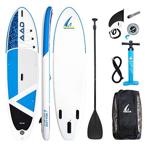 AKD Germany Sea Lion 10'6 '' Paddle Board, SUP Ultra Robusto con Pompa Zaino Telescopico in Alluminio con Guinzaglio 320 X81 X15cm Stand Up Paddle Gonfiabile Kayak per Crociera
