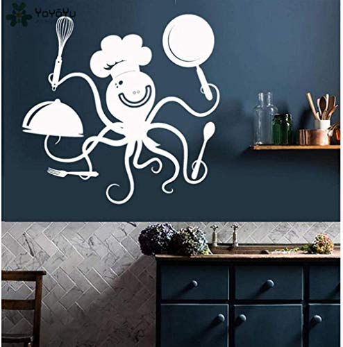 Wall Sticker Kitchen Wall Decal Funny Octopus Chef With Pots And Pans Pattern Restaurant Vinyl Modern Design Animal Decor 57 * 66