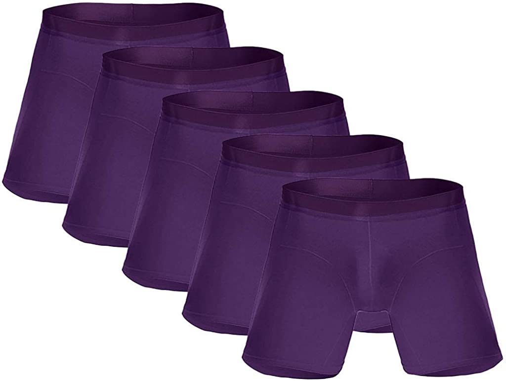 MODOQO Men's Underwear Boxer Briefs Long Running Wear Regular Fit Comfortable Underpants 5-Pack