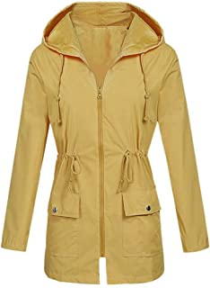 iHHAPY Women's Windbreaker Waterproof Jacket Rain Jacket Hooded Jacket Solid with Zipper Short Coat Waterproof Raincoat