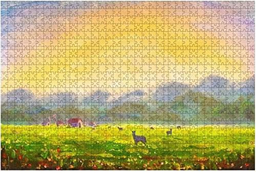 1000 piezas-Dibujo hecho en Photoshop Caballos Nubes corriendo en la Vía Láctea Rompecabezas de madera DIY Niños Rompecabezas educativos Regalo de descompresión para adultos Juegos creativos Juguetes
