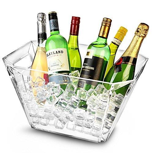 bar@drinkstuff Glacier Cubo de vino geométrico acrílico – Cubo de champán, enfriador de vino, enfriador de champán
