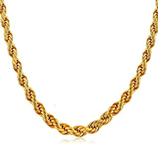 Gold Plated traditional designer trendy golden rope neck chain for women. stylish chain for Women and girl jewellery set i...