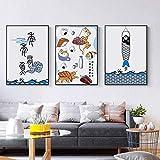 APAZSH Posters para Pared Póster e Impresiones de Peces de Animales creativos japoneses Pinturas de Decoracion de Restaurante Lindas Cuadros de galería de Arte de pared40x60cm x3 Sin Marco