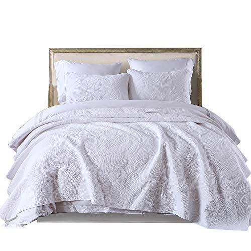 ベッドカバー マルチ カバー ク風北欧 寝具カバー 3点セット ベッドスプレッド キルト おしゃれ ダブル 四季適用 高級 高質感 掛け布団カバー 純天然 綿100% (白いヤシの葉, 230×250cm)