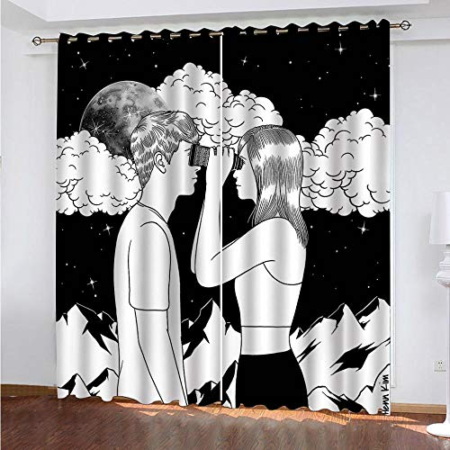 LZTTDMG 3D Digital Printing Curtains Doodle man and woman 2 Panels Blackout Curtains Polyester Solid Eyelet Curtain Thermal Insulated Curtains For Bedroom Nursery Living Room W87 x H84.6 Inch