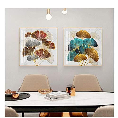 LIPENGYU Druck auf Leinwand Nordic Blue Ginkgo Leaf Mode Wandkunst Bild Abstrakte Dekoration Schöne Blaue Poster Druck Leinwand Gemälde 19,6