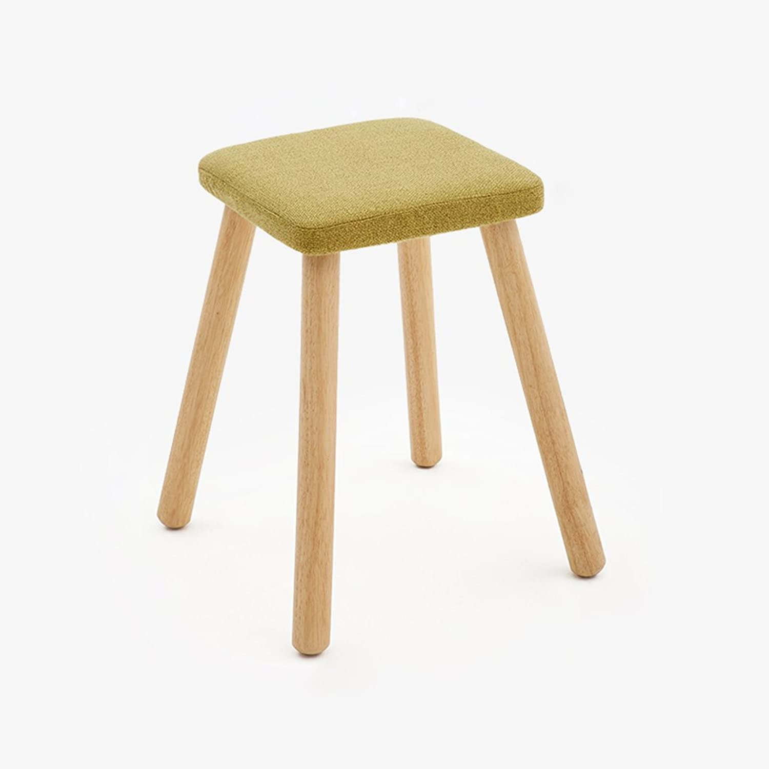Solid Wood Square Stool Fashionable Dressing Chair Cloth Art Household Small Stool (color   Green)