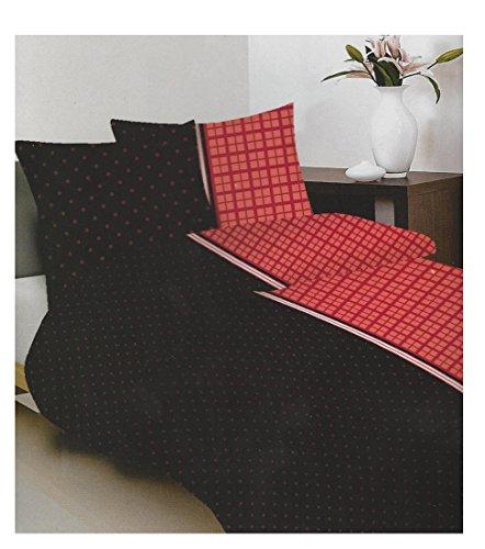 Maxi & Mini–Ropa de cama de negro y rojo funda nórdica de 160x 200+ 2fundas 70x 80–100% algodón (pr3053)