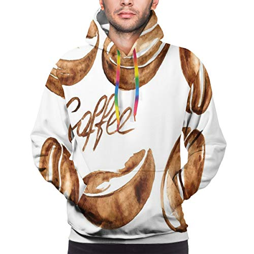 AIQIIA Men's Hoodies 3D Print Pullover Sweatershirt,Watercolor Effect Beans Breakfast Drink Brush Strokes Pattern Abstract Artistic,XL