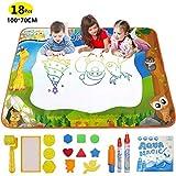 Yetech Wasser Doodle Matte, 100x70cm Aqua Magic Doodle Matte mit 3 Magic Stifte und 12 Stempelset - Pädagogisches Geschenk Spielzeug für Kinder