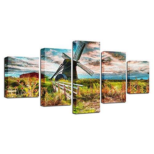 NJYBF 5 Teilig Leinwandbilder Stadtlandschaft Wandbild Poster Und Drucke Wandkunst Leinwand Malerei, für Wohnzimmer Dekoration - ohne Rahmen. (D,M-200x100 cm)