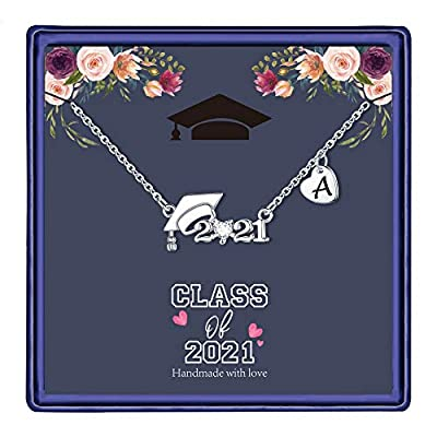 2021 Graduation Gifts for Her, Silver Graduation Cap Pendant Necklace Class of 2021 Graduation Gift College Graduation Gifts for Her Heart Letter A Initial Necklace Graduation Jewelry for Women