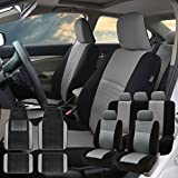 FH Group FH-FB060115 Trendy Elegance Car Seat Covers, Airbag Compatible and Split Bench with F14407 Premium Carpet Floor Mats Gray/Black- Fit Most Car, Truck, SUV, or Van