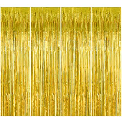 4 Stück Gold Folie Fransen Vorhang, 1 x 2 m Metallic Tinsel Lametta Vorhänge Photo Booth Hintergrund Vorhänge, Fringe Schimmer Vorhang für Hochzeit Geburtstag Party Tür Fenster Dekorationen