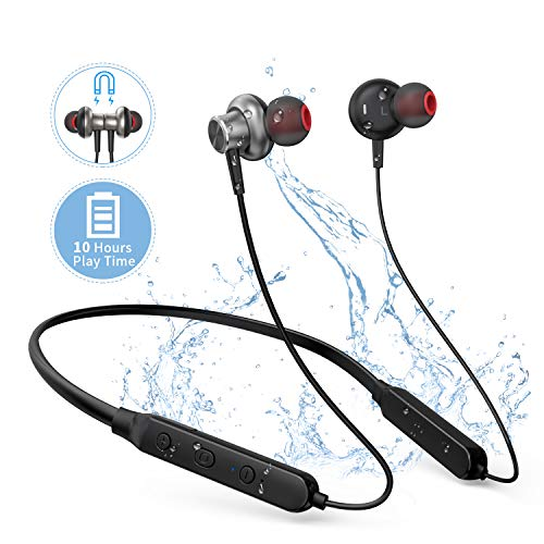 HolyHigh BT01 Sports Neckband Wireless Bluetooth HD Stereo Sound 10 Hours Hands Free Call Earbuds Flexible in Ear Waterproof Headphones/Earphone with Mic