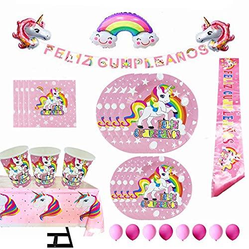 Vajilla Papel Cumpleaños Unicornio Rosa para 16 Invitados,101 Piezas Incluye Platos, Vasos, Mantel, Servilletas y Globos,Ideal para Niñas…