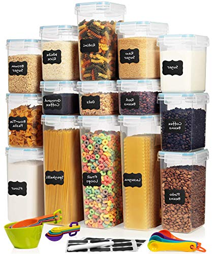 LARGE Set of 30pc Airtight Food Storage Containers 15 Container Set - Amsha Kitchen Pantry Organization - BPA-Free Plastic Containers - Interchangeable Lids Ideal for Spaghetti Flour Rice Sugar