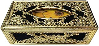 Kingsway Classic Royal/Castle Tissue Paper Napkin Holder Box for Cars, Offices & Homes (Black-Golden Color, Velvet, Free Tissue Papers Inside)
