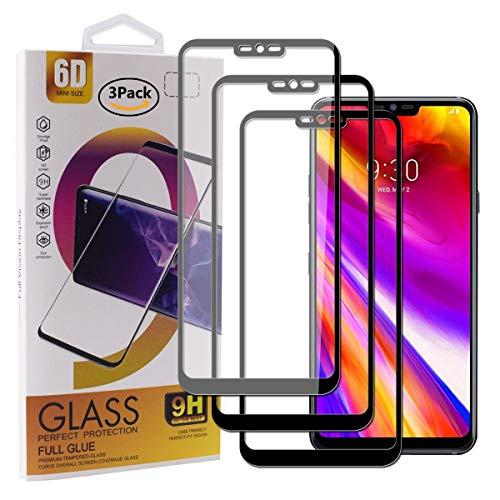 Guran [3 Pezzi Pellicola Vetro Temperato per LG G7 ThinQ/LG G7 Fit/LG G7 One Smartphone Copertura Completa 9H Durezza Anti-Impronte HD Pellicola Protettiva - Nero