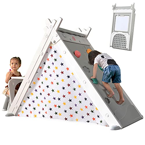 Merax Foldable Triangle Climber, 4-in-1 Kids Hideaway Play Tent with Art Easel and Stool, Climbing Triangle Crawling Toy Activity Play Set for Toddlers (White)