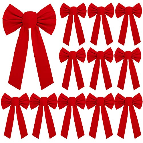 URATOT 12 Pack Red Velvet Christmas Bows Holiday Christmas Bows Christmas Wreaths Decoration, 9 x 16 inches(12, 9 x 16 Inches)