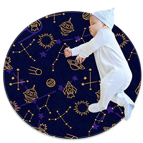 DEDEF Space Shuttle Star Kinder Runde Krabbeldecke Boden Spielmatte Faltbare Matten Baby