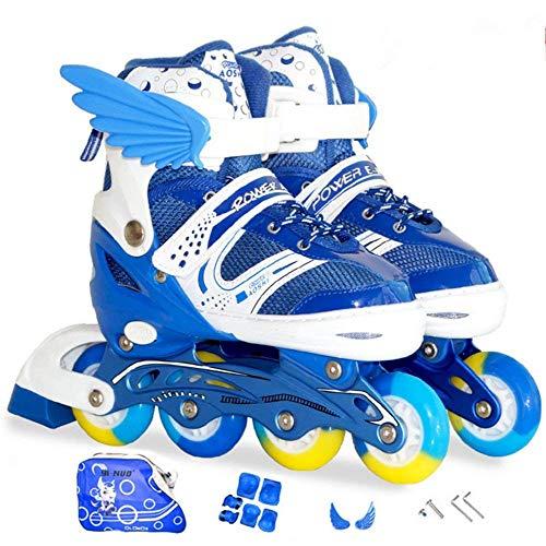 Sumeber Inline Skates Kinder Inliners Roller Skates Roller Blades 4 Räder Flash Kinder Inline Skates (Blau, S(31-37))