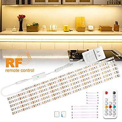 wobsion Under Cabinet Lights Warm White, Kitchen Cabinet Lighting, 6 PCS Dimmable Strip Lights with RF Remote,12V,High Bright with 180 LEDs,Led Strip Lights for Kitchen Cabinets,Counter,Bedroom,9.8ft