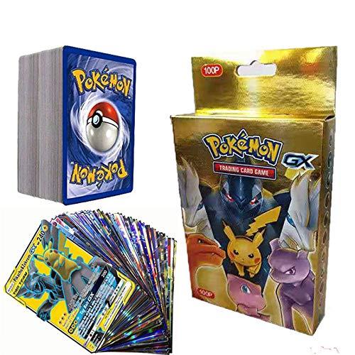 SunAurora 100PCS Pokémon Cartes, Amusant Pokemon Flash Card, Pokemon GX Tag Team Cartes, Cadeaux de Noël et Cadeaux d'anniversaire pour Enfants