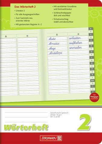 Wörterheft/Schulheft LINEATUR 2 (Din A5-28 Blatt/hoch) mit A-Z Register