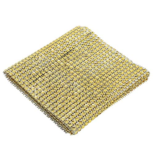 Niunion Diamond Mesh Ribbon, 2 Colors 24 Rows Diamond Mesh Ribbon Cake Roll Rhinestone Wrap Wedding Party Decoration(Gold)
