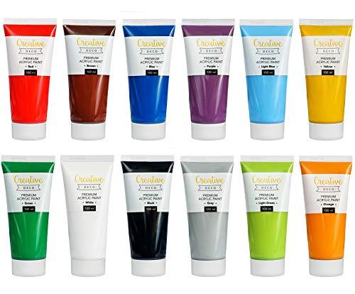 Creative Deco Colori Acrilici | 12 Tubetti x 100ml | Set Acrilico per Pittura Dipingere Ceramica | Perfetti per Principianti, Studenti e Artisti Professionisti | Adatti a Legno, Tela, Carta o Tessuto