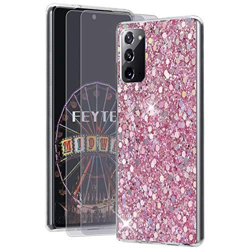 Feyten Kompatibel mit Galaxy Note 20 5G / 4G Hülle mit HD-Schutzfolie [2 Stück],Bling Glänzend Glitzer Weich TPU Silikon Etui Cover Schale Schutzhülle für Samsung Galaxy Note 20 5G / 4G (Rosa)